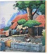 Village House Wood Print