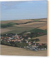 Village In A French Landscape  Wood Print