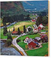 Village In The Mountains Wood Print