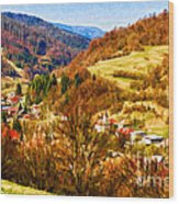 Village In The Valley Wood Print