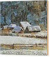 Village In Winter Wood Print