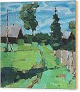 Village Meadow Wood Print