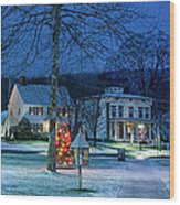 Village Of New Milford - Winter Panoramic Wood Print by Thomas Schoeller