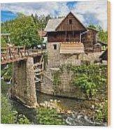 Village Of Rastoke River Canyon Wood Print