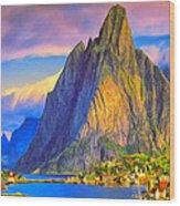 Village On The Naeroyfjord Norway Wood Print