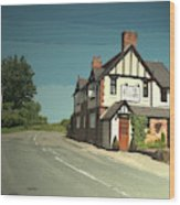 Village Scene In Middle Mayfield, The Rose And Crown Public Wood Print