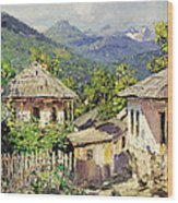Village Scene In The Mountains Wood Print