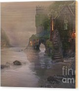 Villages By The Foggy Sea   Wood Print