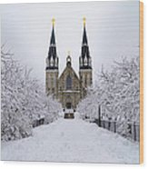 Villanova University In The Snow Wood Print