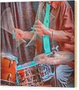 Vince Lateano On Drums Wood Print