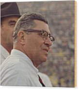 Vince Lombardi Coaching Wood Print