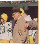 Vince Lombardi In Trench Coat Wood Print