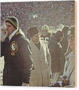 Vince Lombardi On The Sideline Wood Print by Retro Images Archive