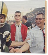 Vince Lombardi Shaking Hands Wood Print by Retro Images Archive