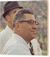 Vince Lombardi Surveying The Field Wood Print by Retro Images Archive