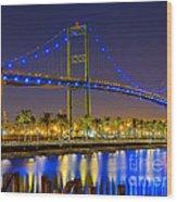 Vincent Thomas Bridge - Nightside Wood Print