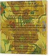 Vincent's Sunflower Song Wood Print