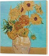 Vincent's Sunflowers Wood Print