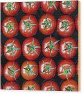 Vine Tomato Pattern Wood Print