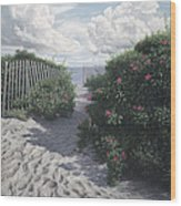 Vineyard View Roses Wood Print