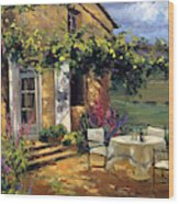 Vineyard Villa Wood Print