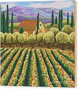 Vineyard With Olives Tuscany Wood Print