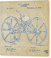 Vintage 1869 Velocipede Bicycle Patent Artwork Wood Print