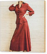 Vintage 1940's Style Fashion Plate Wood Print by Diane Diederich