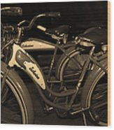 Vintage 1941 Boys And 1946 Girls Bicycle 5d25760 Sepia1 Wood Print
