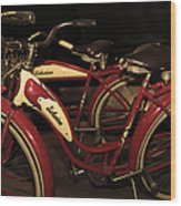 Vintage 1941 Boys And 1946 Girls Bicycle 5d25760 Sepia2 Wood Print
