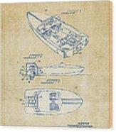 Vintage 1972 Chris Craft Boat Patent Artwork Wood Print