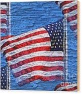 Vintage Amercian Flag Abstract Wood Print