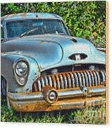 Vintage American Car In Yard Wood Print