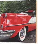 Vintage American Car - Red And White 1955 Oldsmobile Convertible Classic Car Wood Print by Kathy Fornal