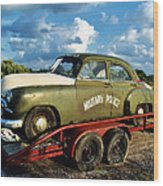 Vintage American Military Police Car Wood Print by Kathy Fornal