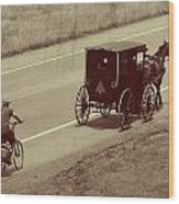 Vintage Amish Buggy And Bicycle Wood Print