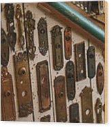 Vintage And Antique Door Knob And Lock Plates Wood Print