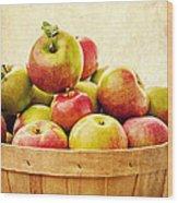 Vintage Apple Basket Wood Print