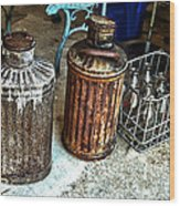 Hdr Vintage Art  Cans And Bottles Wood Print