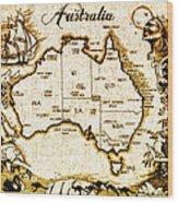 Vintage Australia Map Wood Print