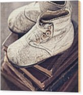Vintage Baby Boots And Books Wood Print