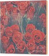 Vintage Background Of Roses In Bouquet Wood Print