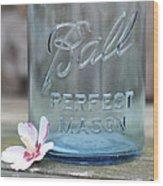 Vintage Ball Perfect Mason Blue Wood Print