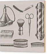 Vintage Barbershop Objects Wood Print