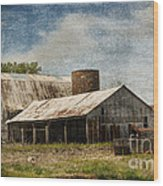 Barn -vintage Barn With Brick Silo - Luther Fine Art Wood Print