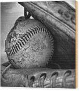 Vintage Baseball And Glove Wood Print