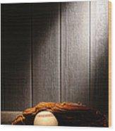 Vintage Baseball Wood Print by Olivier Le Queinec