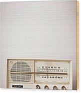 Vintage Beige Radio Sitting On Wood Wood Print