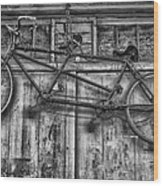 Vintage Bicycle Built For Two In Black And White Wood Print
