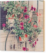 Vintage Bicycle Flowers Photograph Wood Print by Elle Moss